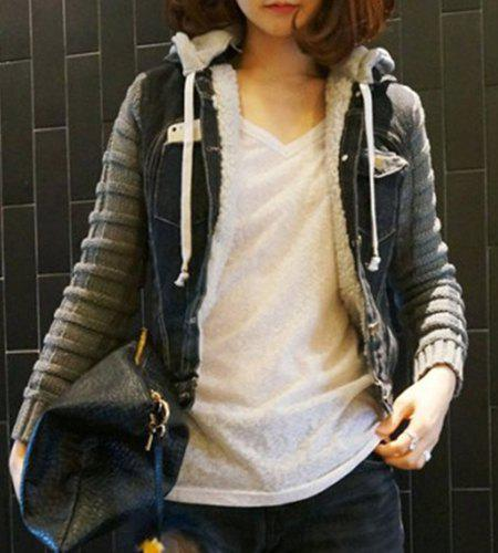 Chic Pocket Turn-Down Splicing Hooded Long Sleeve Collar Denim Coat