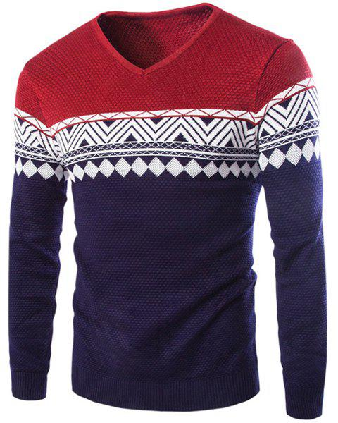 Color Block Rhombus Wavy Stripes Jacquard V-Neck Long Sleeves Slimming Men's Cashmere Blend Sweater - WINE RED L