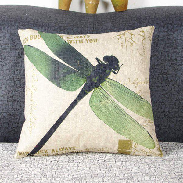 Natural Linen Dragonfly Pattern Decorative Pillowcase (Without Pillow Inner) - GREEN