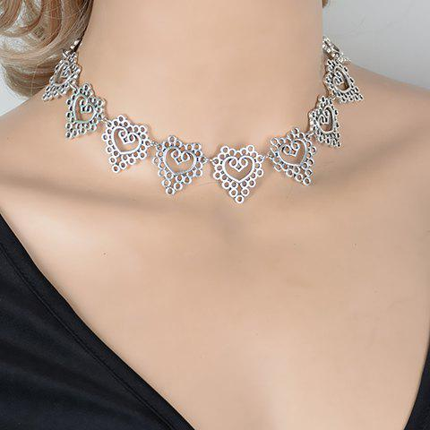 Hollow Out Heart Choker Necklace - SILVER