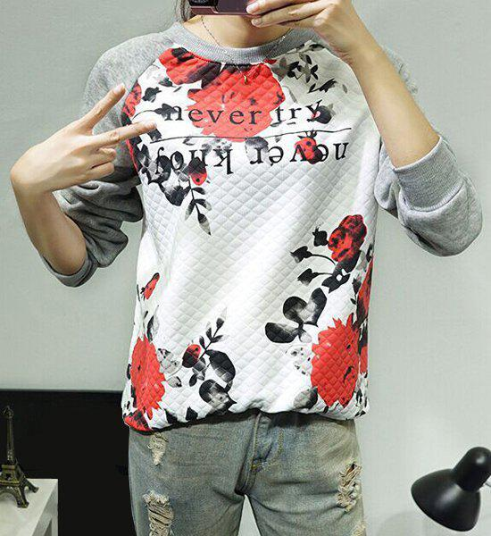 Casual Round Neck Flower and Letter Print Long Sleeve Sweatshirt For Women - GRAY S