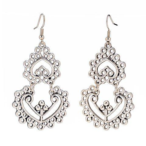 Pair of Vintage Hollow Out Heart Women's Earrings - SILVER
