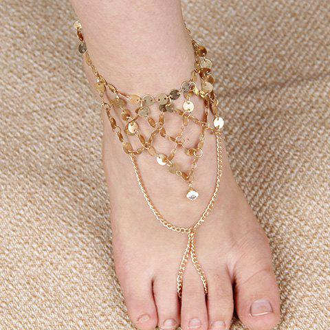 Retro Rhinestone Sequins Tassel Anklet For Women -  GOLDEN