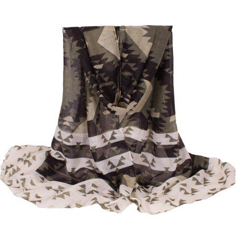 Fashionable Geometry Pattern Women's Voile Scarf - ARMY GREEN