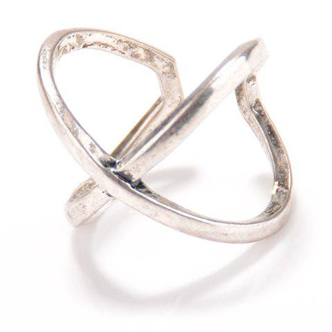 X Shape Cuff Ring - SILVER ONE-SIZE
