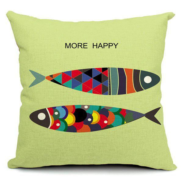 Stylish Cartoon Fish Printed Square Pillow Case(Without Pillow Inner)
