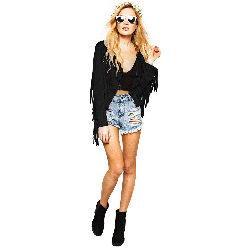Street Style Turn Down Collar Long Sleeve Solid Color Fringed Women's Coat - BLACK S
