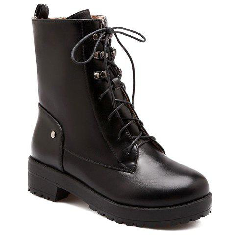 Laconic Metal and Lace-Up Design Combat Boots For Women - BLACK 38