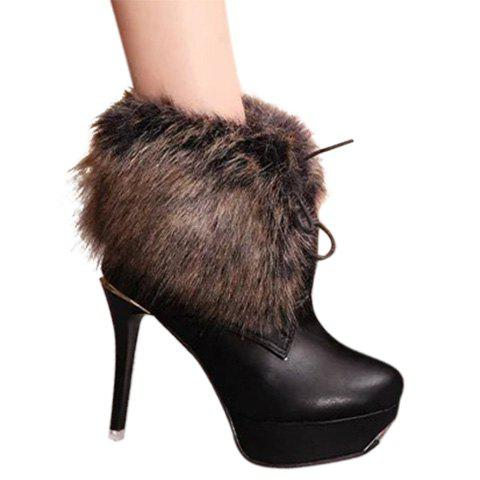 Sexy Fur and Stiletto Heel Design Women's Short Boots