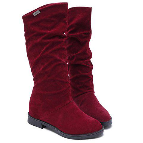 Stylish Flock and Increased Internal Design Mid-Calf Boots For Women - WINE RED 38