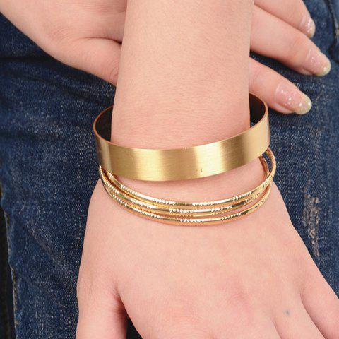 A Suit of Trendy Pure Color Round Bracelets For Women - GOLDEN