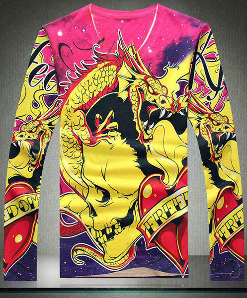 Cool 3D Colorzied Skulls Dragon Pattern Slimming V-Neck Long Sleeves Men's Vogue Sweater - COLORMIX 2XL