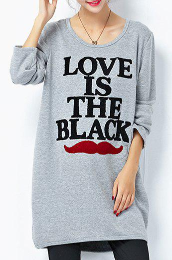 Casual Style Long Sleeve Scoop Neck Lip and Letter Pattern Women's Sweatshirt - GRAY ONE SIZE(FIT SIZE XS TO M)