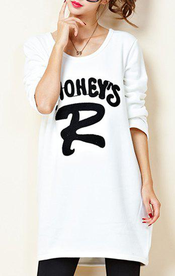 Casual Style Long Sleeve Scoop Neck Letter Embroidered Women's Sweatshirt - WHITE ONE SIZE(FIT SIZE XS TO M)