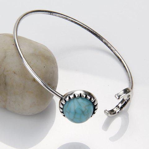 Crescent Turquoise Cuff Bracelet - SILVER