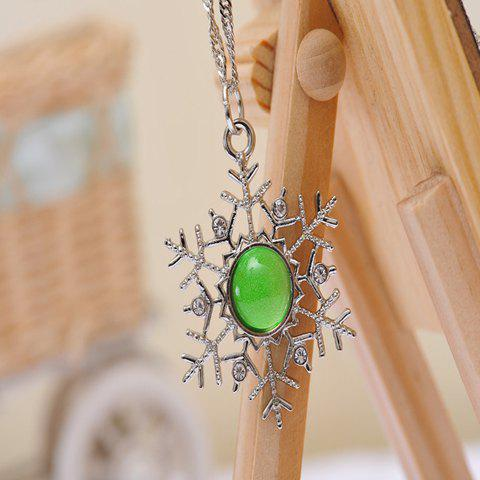Stylish Luminous Faux Gemstone Snowflake Sweater Chain For Women -  SILVER