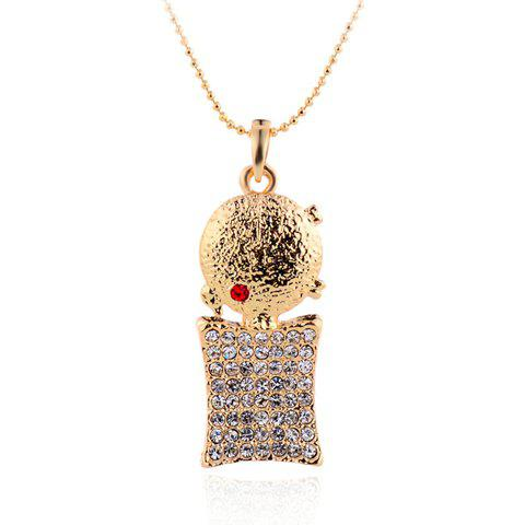 Classic Rhinestone Round Square Necklace For Women - GOLDEN