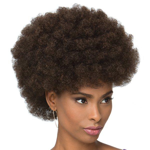 Fluffy Afro Curly Short Fashion Heat Resistant Fiber Black Brown Capless Women's Wig