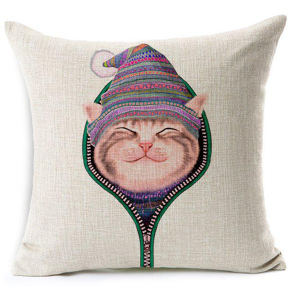 Charming Kitten Printed Square New Pillow Case(Without Pillow Inner) - COLORMIX