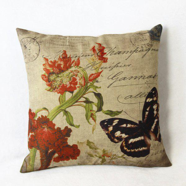 Natural Butterfly Pattern Linen Decorative Pillow Cover (Without Pillow Inner)