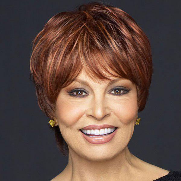 Graceful Inclined Bang Fashion Fluffy Mixed Color Wave Capless Short Synthetic Women's Wig