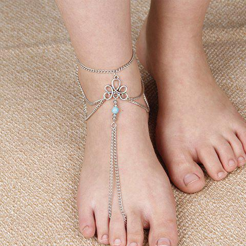Bead Multilayered Chain Tassel Anklet - SILVER