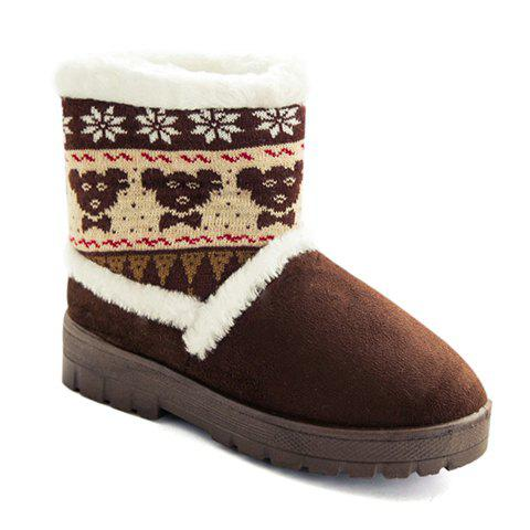 Ladylike Flock and Colour Block Design Women's Snow Boots - COFFEE L(39-40)