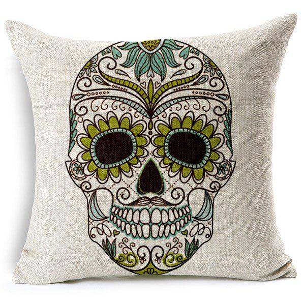 Charming Colorful Skull Pattern Square New Pillow Case(Without Pillow Inner)