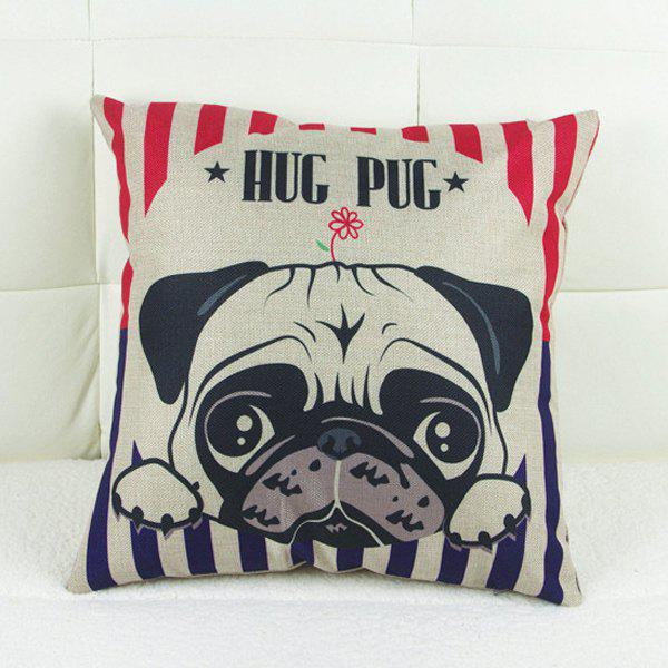 Classical Dog Pattern Linen Decorative Pillowcase (Without Pillow Inner) - AS THE PICTURE