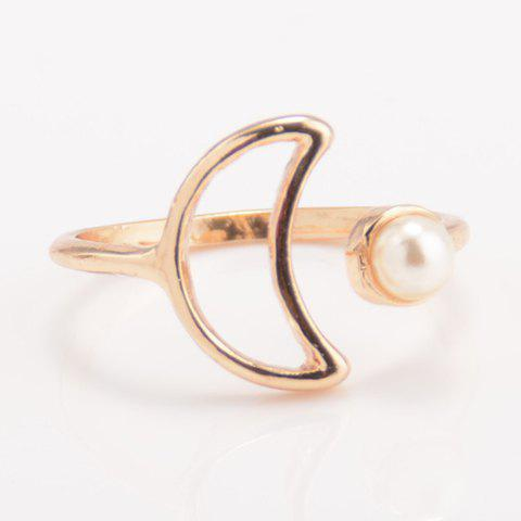 Faux Pearl Crescent Cuff Ring - GOLDEN ONE-SIZE