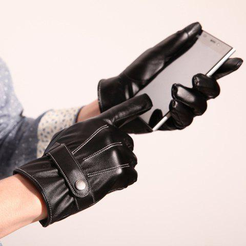 Pair of Stylish Snap Fastener Stripy Touch Screen PU Gloves For Men