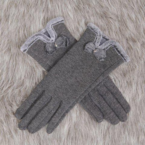 Buy Pair Chic Small Bow Faux Fur Edge Embellished Gloves Women GRAY