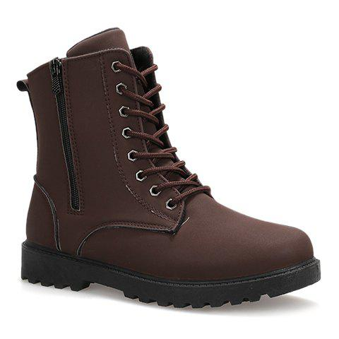 Trendy Stitching and Lace-Up Design Boots For Men - DEEP BROWN 42