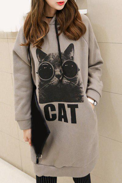 Women's Elegant Kitten Hooded Long Sleeve Hoodie - GRAY ONE SIZE(FIT SIZE XS TO M)