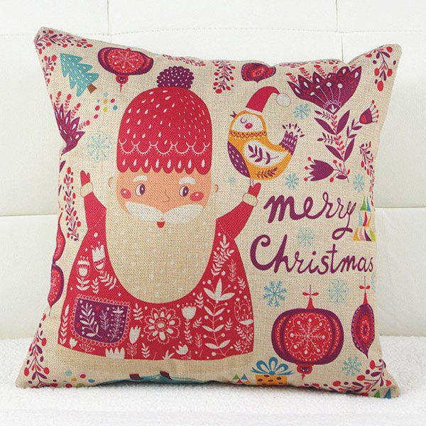 Fresh Christmas Father Pattern Linen Decorative Pillowcase (Without Pillow Inner)