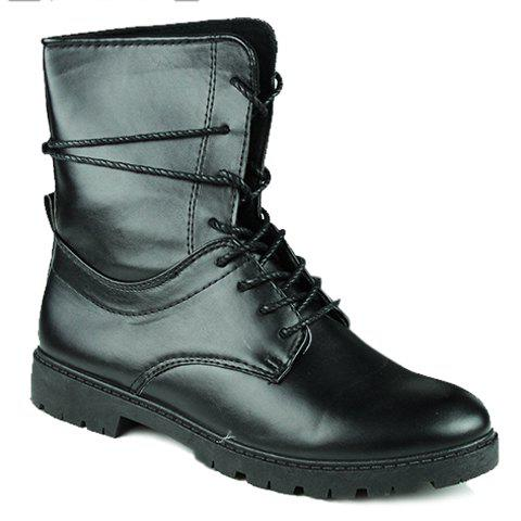Trendy Dark Color and Lace-Up Design Boots For Men