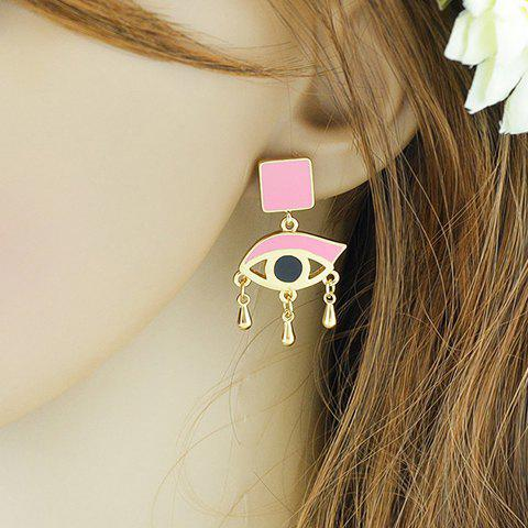 Pair of Stylish Square Evil Eye Earrings For Women - PINK
