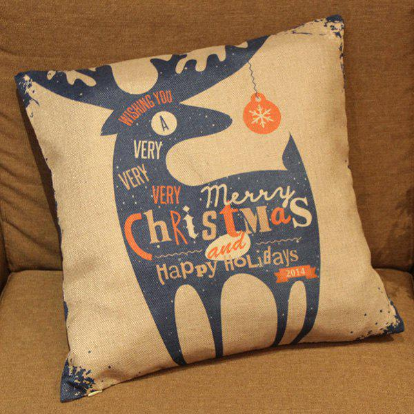 Classical Christmas Deer Pattern Linen Decorative Pillowcase (Without Pillow Inner) - COLORMIX