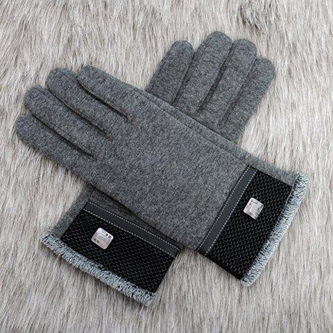 Pair of Stylish Alloy Embellished Fish Scale Pattern Brim Thicken Gloves For Men