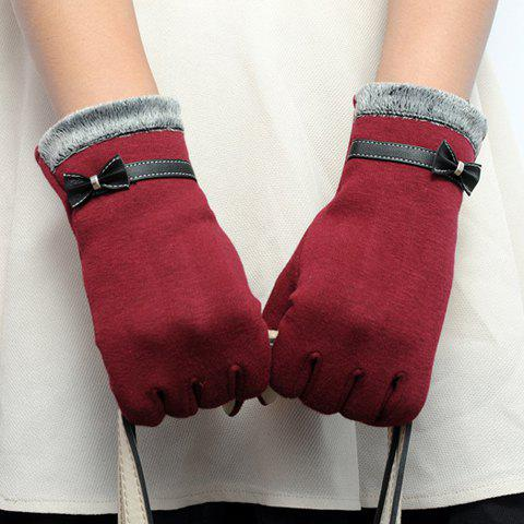 Pair of Chic Faux Leather Small Bow and Fake Fur Embellished Women's Gloves