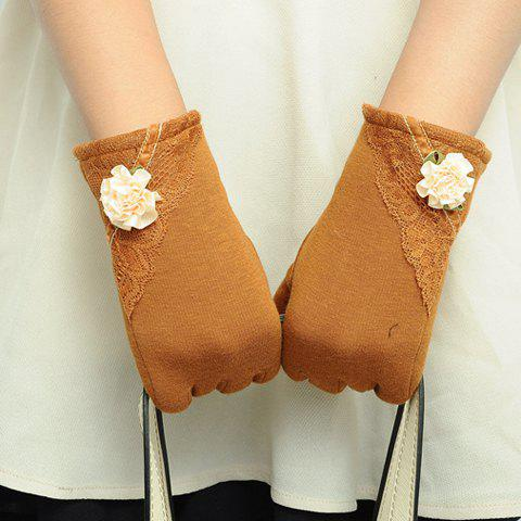 Pair of Chic Lace and Small Flower Embellished Touch Screen Gloves For Women