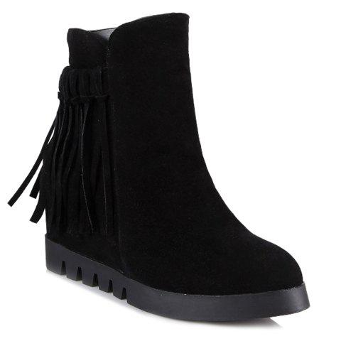 Simple Tassle and Suede Design Women's Ankle Boots - BLACK 38