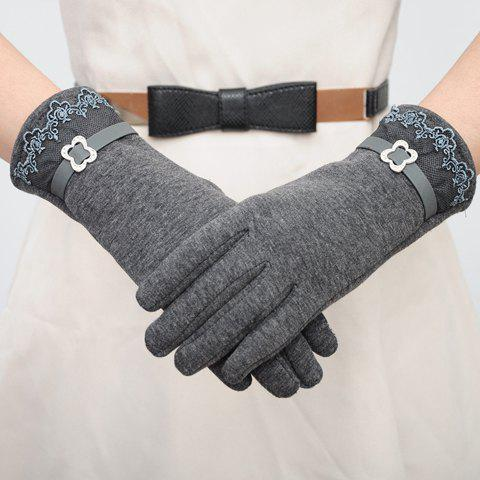Pair of Chic Lace and Rhinestone Buckle Embellished Gloves For Women