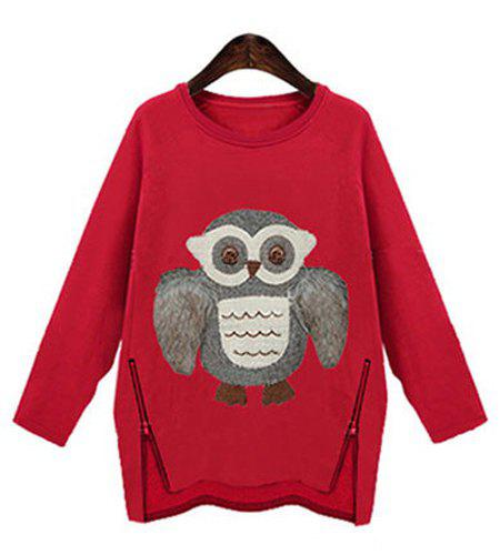 Stylish Owl Pattern Zipper Design Scoop Neck Long Sleeve Sweatershirt For Women - RED M