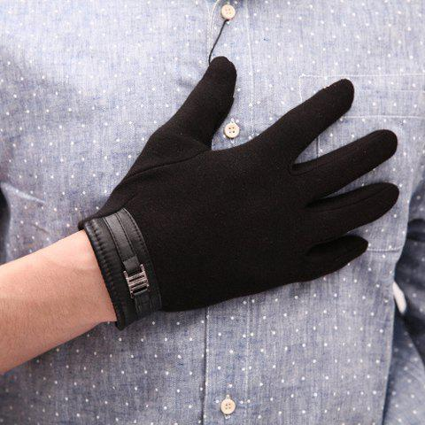 Pair of Stylish Alloy and PU Embellished Touch Screen Gloves For Men