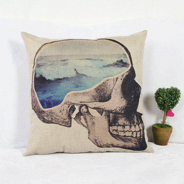 Classical Skull Pattern Linen Decorative Pillowcase (Without Pillow Inner)