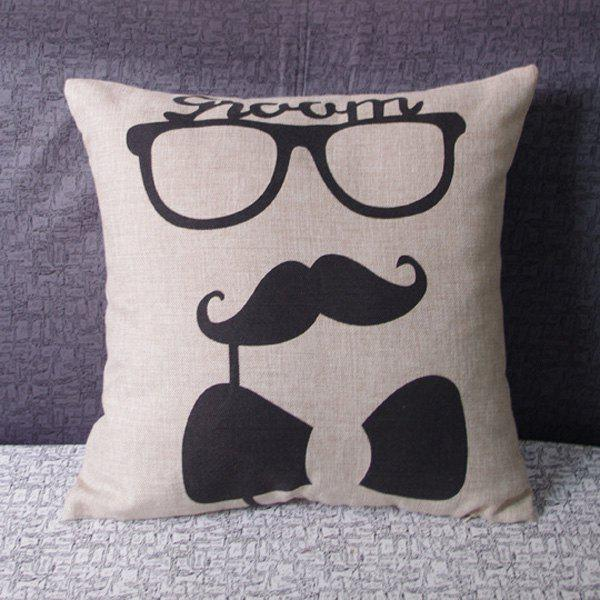 Classical Mr. Pattern Linen Decorative Pillowcase (Without Pillow Inner)
