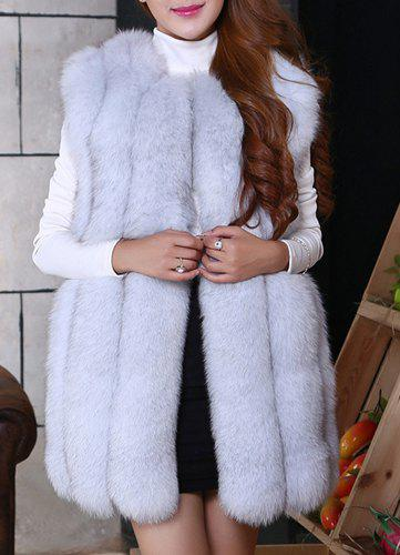 Chic Sleeveless Round Collar Pure Color Faux Fur Women's Waistcoat - GRAY 2XL
