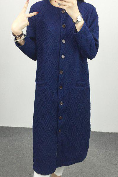 Women's Elegant Long Sleeve Loose Pure Color Long Cardigan - BLUE 2XL