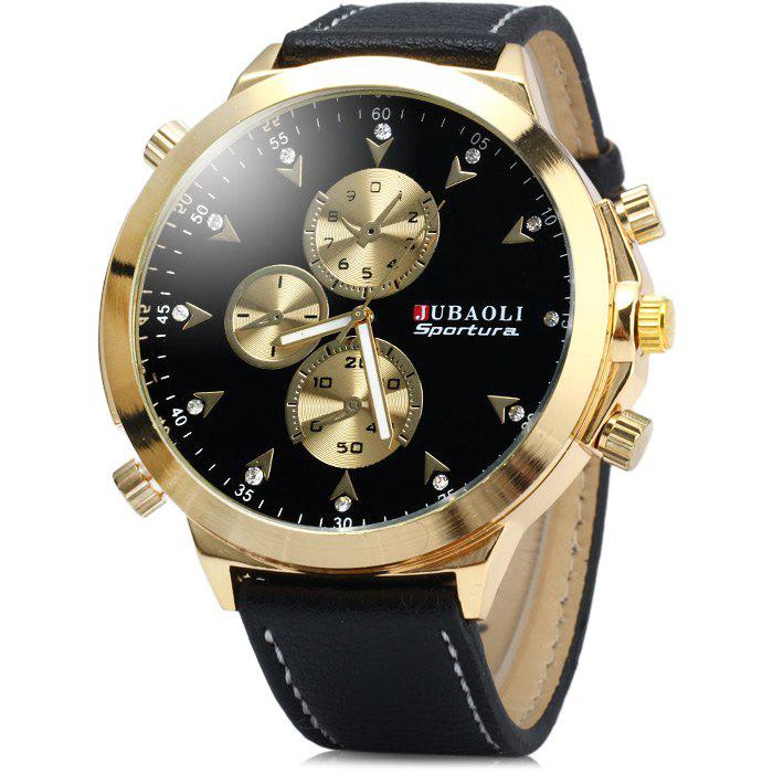 Jubaoli Diamond Scale Big Dial Quartz Watch with Leather Band for Men - BLACK